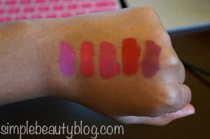 L-R: Forever Fuchsia, Strawberry Kissed, Endless Pink, Always Red, Endless Purple
