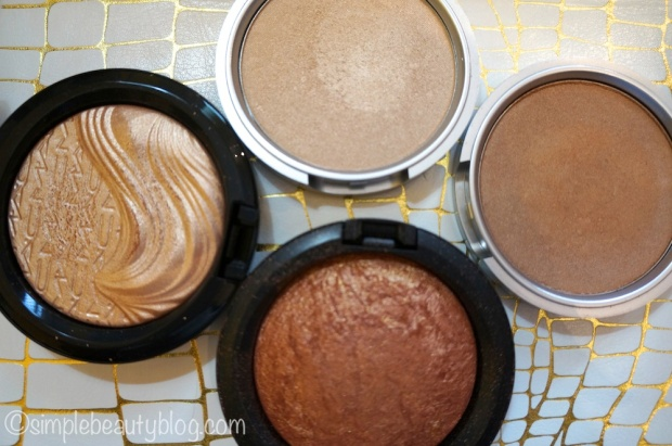 Clockwise from Left: MAC Whisper of Gilt, The Balm Mary Lou-Manizer, The Balm Betty Lou-Manizer, MAC Gold Deposit
