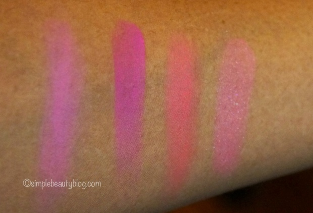 L-R: Be A Bombshell Cosmetics Beach Please, Nars Coeur Battant, Illamasqua Tweak, Mac Supernova