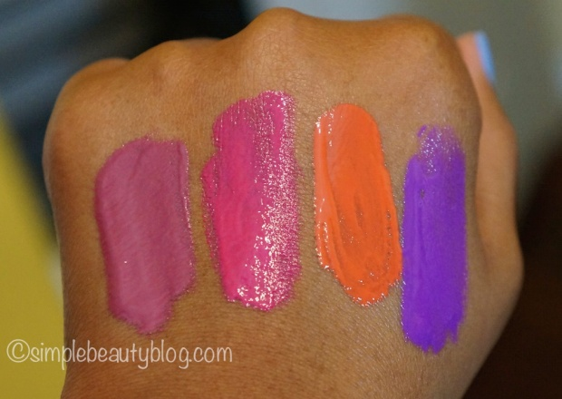 L.A. Girl Glazed, L-R: Blushing, Bombshell, Hot Mess, Coy