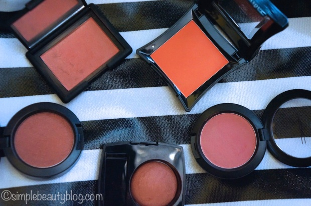 Clockwise: Illamasqua Excite, MAC Fleur Power, Chanel Canaille, MAC Ambering Rose, NARS Torrid