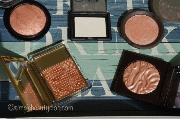 Clockwise from top Left: MAC Cheeky Bronze, NARS Albatross, Becca Rose Gold, Laura Mercier Spellbound, Estee Lauder Topaz Chameleon