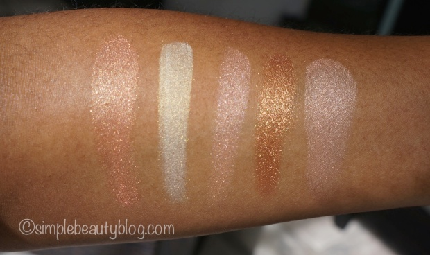 L-R: Cheeky Bronze, Albatross, Rose Gold, Topaz Chameleon, Spellbound